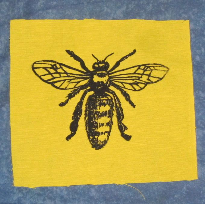 Honey bee patch black ink on yellow fabric silkscreen honey bee patch black ink on yellow fabric bee patch silkscreen screenprint drawing diagram insect bug critter punk animal patch honey ccuart Gallery