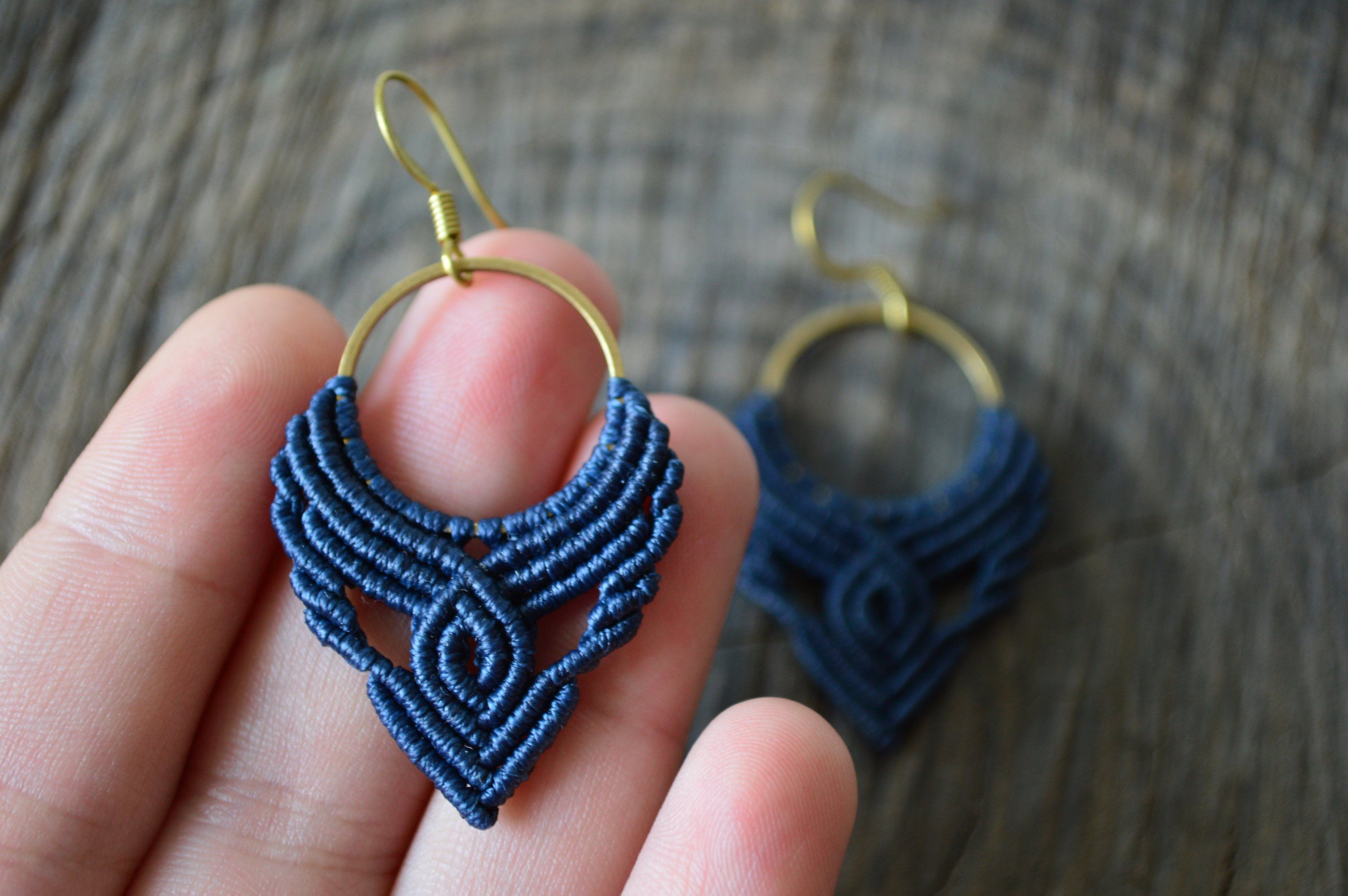 Photo of Navy blue macrame hoop earrings with brass hoop and waxed cord, Bohemian macrame blue hoops, …