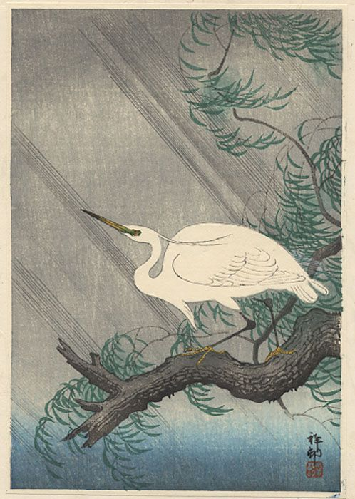 """""""Egret on Bough of Willow Tree"""" by Shoson"""