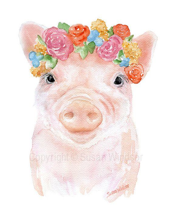 Pig Floral Watercolor Reproduction 4 x 6 in Giclee Fine | Etsy