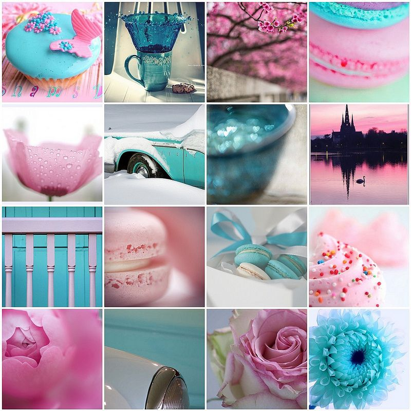 In a Company of Turquoise and Pink #collageboard