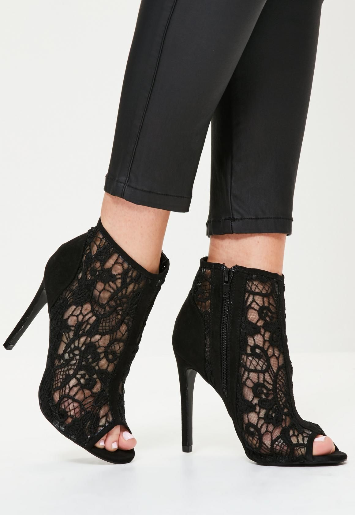 608ba385a0c Missguided - Black lace Peep Toe Heeled Ankle Boots | Shoes! Shoes ...