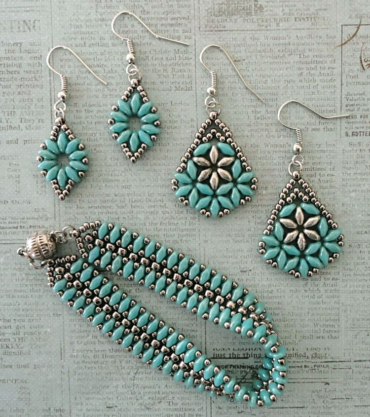 Linda's Crafty Inspirations: Mystery SuperDuo Bracelet Set - Turquoise & Silver #jewelry