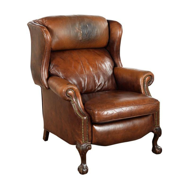 Best Vintage Reclining Brown Leather Chair Brown Leather 640 x 480
