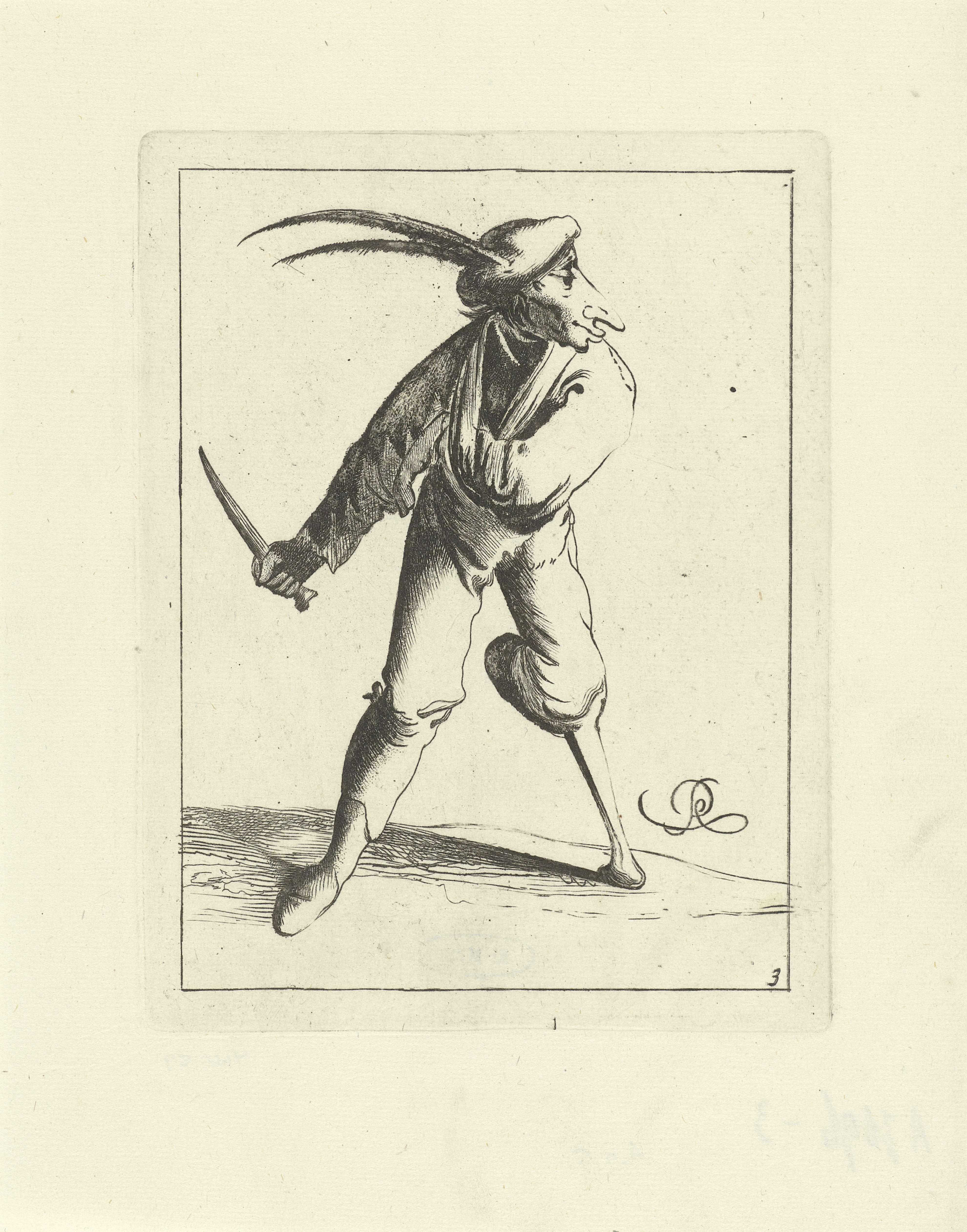 Pieter Jansz. Quast   Dwaas met een mes, Pieter Jansz. Quast, Frederik de Wit, 1639 - 1706   Een dwaas met een houten been en de arm in een mitella heeft een mes in zijn hand. Hij draagt een baret met lange veren. Zijn gezicht is langgerekt en lijkt op de snuit van een geit. De prent maakt deel uit van een serie van twaalf prenten met dwazen.