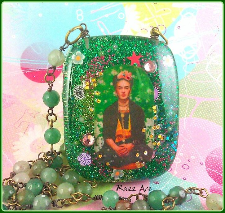 Frida Kahlo resin necklace by My Sweet Skull with hand beaded jade beads