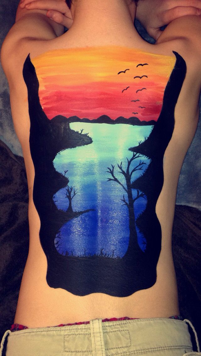 Lake with sunset back body painting body paint for Back painting ideas easy