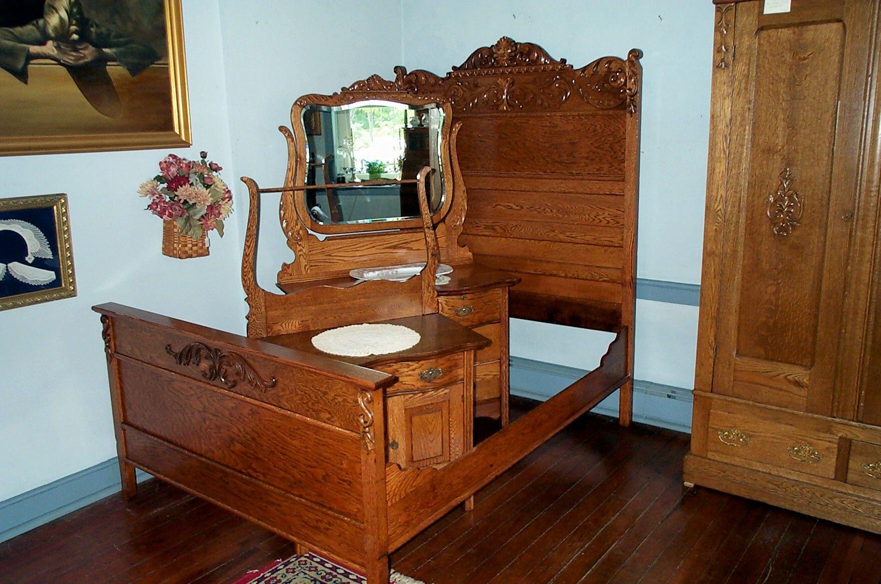 Three Piece Solid Oak Bedroom Set Antiques