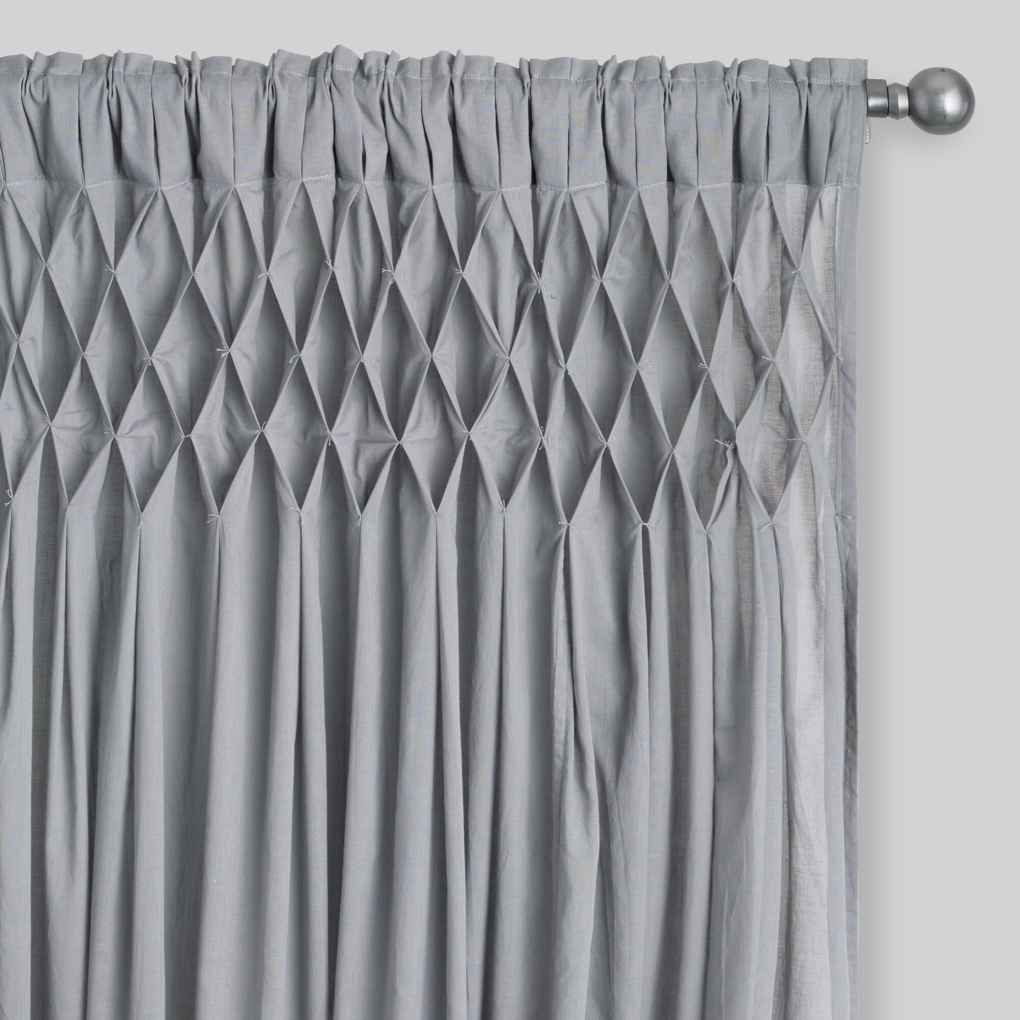 White Smocked Top Cotton Curtains Set Of 2 Stylish Curtains