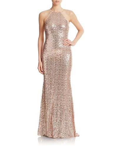 Brands Formalevening Sequin Halter Gown Lord And Taylor