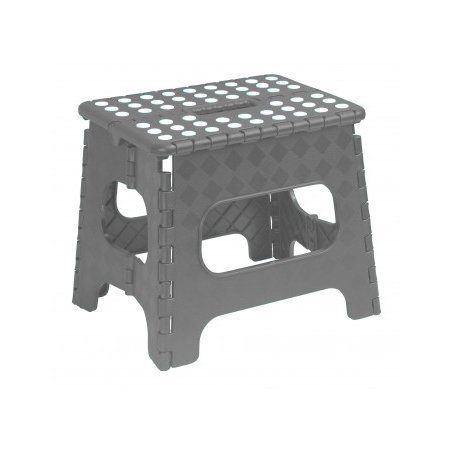 Superio Folding Step Stool With Anti Slip Surface 11 Inch Grey