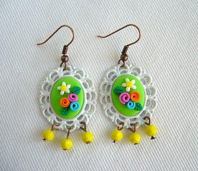 lollipop: Shabby Chic Green earrings