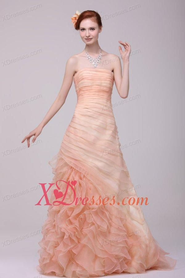 A-line Strapless Floor-length Peach Zipper Up Organza Prom Dress ...
