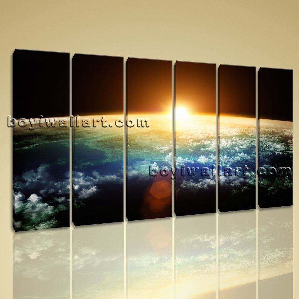 Large Living Room Paintings Large Planet Earth Sunset Other Photography Print On Canvas Wall