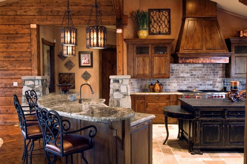 Rustic Kitchen Distressed Cabinetry Copper Range Hood And Wrought Inspiration Cabin Kitchen Design Creative