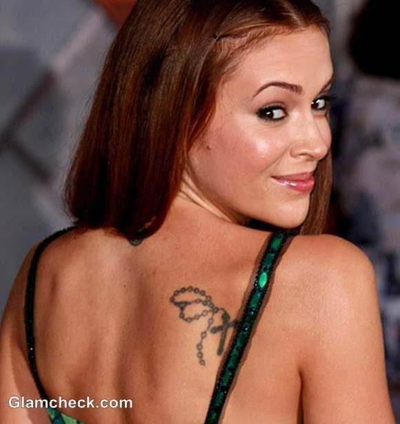 Alyssa Milano Neck Shoulder Tattoos Their Meaning Shoulder