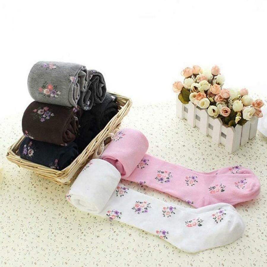 742dffb45c4 Toddler Baby Cotton Tights Socks Stockings Thermal Hosiery Flower Pantyhose  CA Tights Socks Cotton