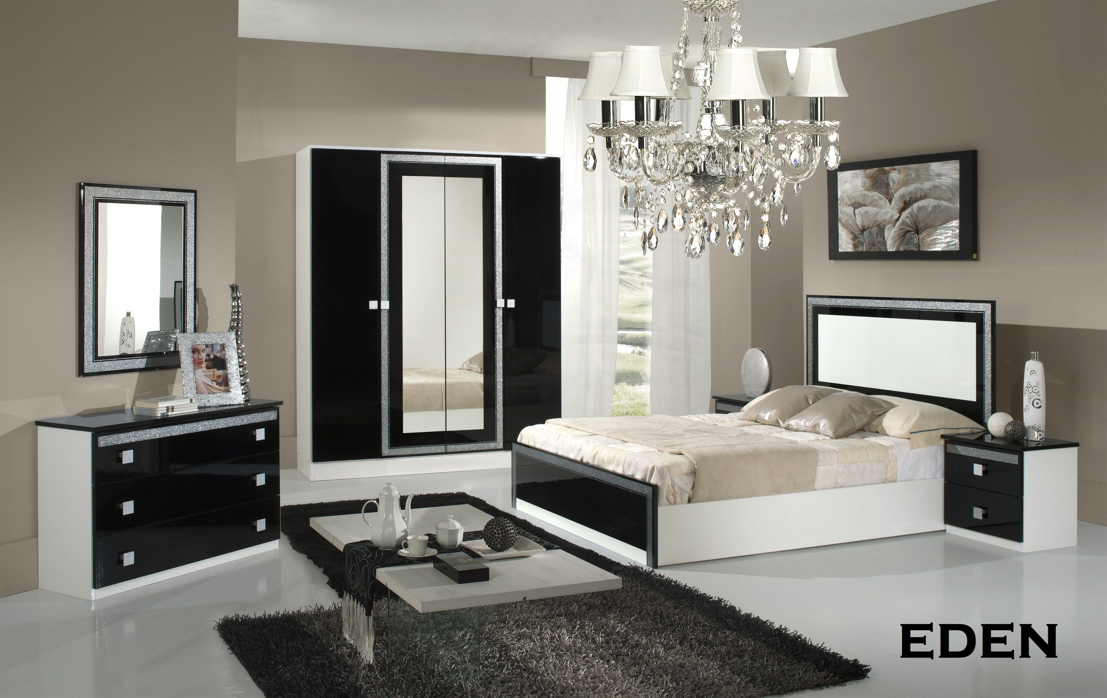 chambre complete eden comprend armoire 4 portes lit 140x190 2 chevets commode miroir. Black Bedroom Furniture Sets. Home Design Ideas