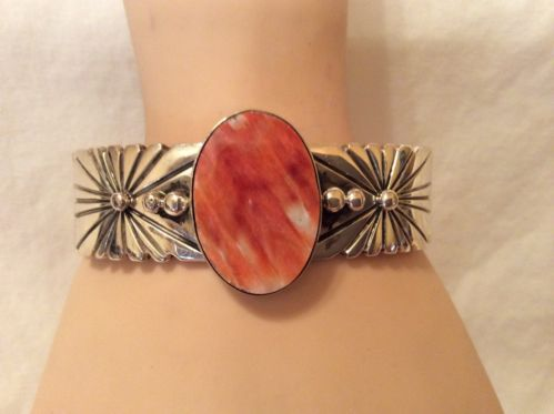 NAVAJO ORANGE SPINY OYSTER STERLING SILVER BRACELET BY DANIEL MIKE