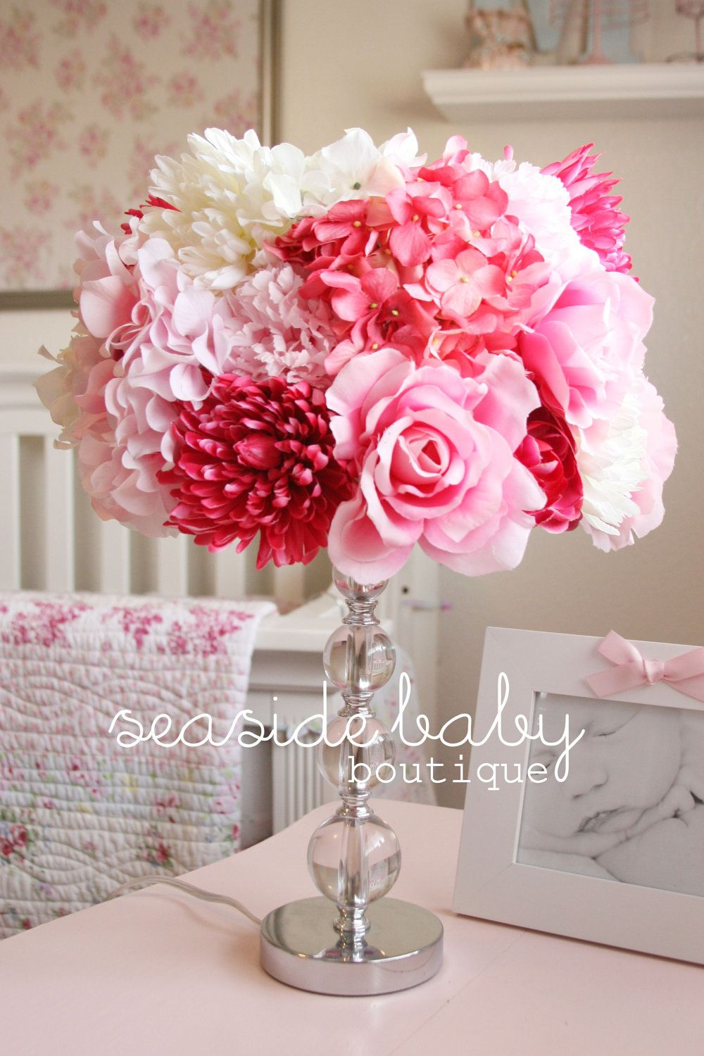 Shabby Chic Silk Floral Lamp Shade.... I like this..