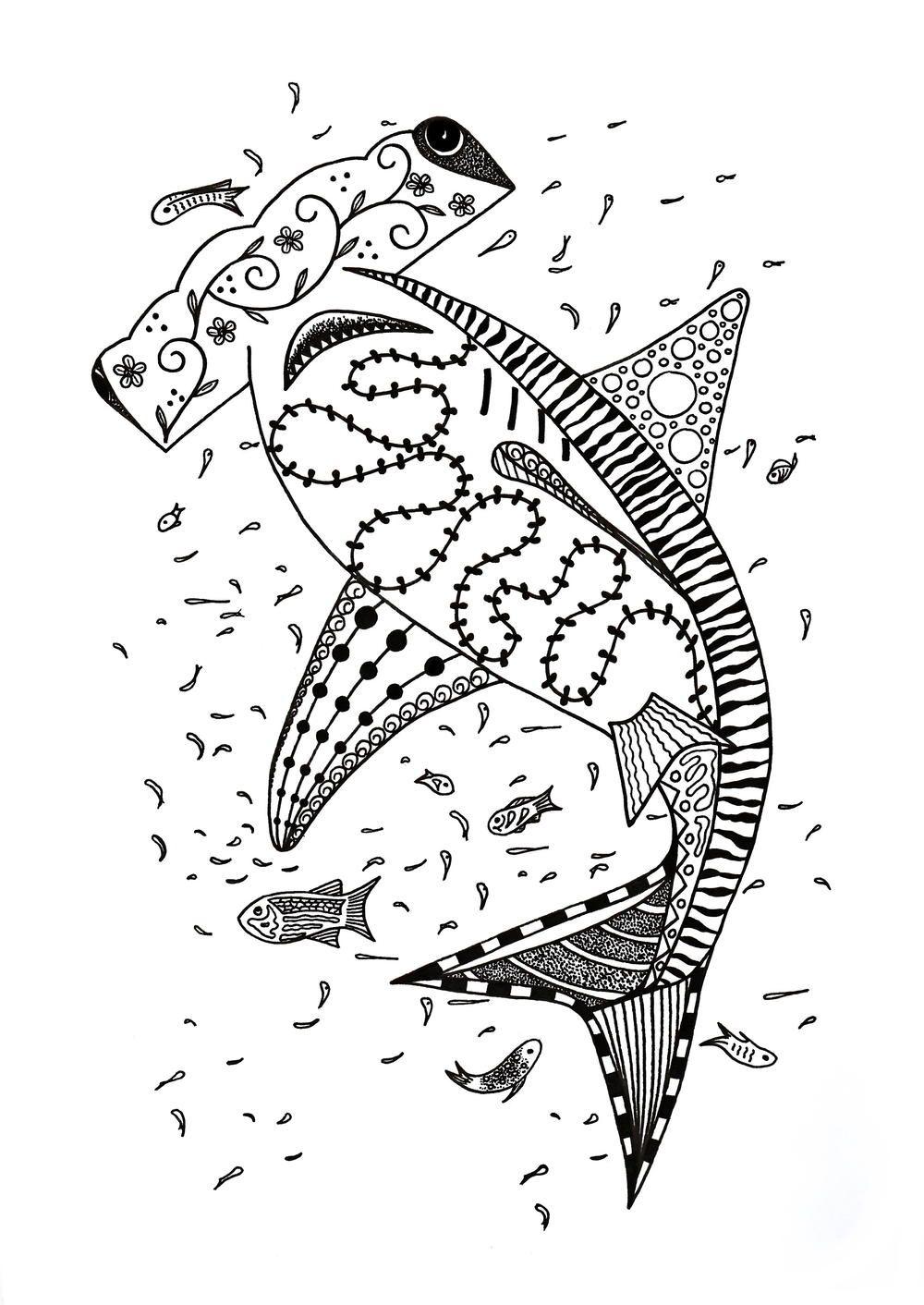 Hammerhead Shark Coloring Page Shark Coloring Pages Coloring Pages For Kids Coloring Pages