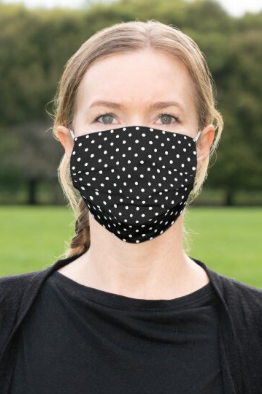 Classic Black and White Polka Dot Pattern Cloth Face Mask