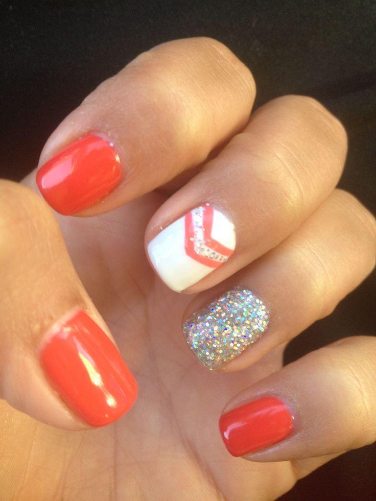 Orange nails with chevron and glitter nail #nailart #nails #mani ...