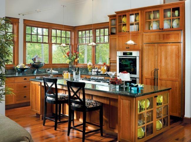 wohnideen für die küche holz küchenmöbel granit graue arbeitsplatte ...
