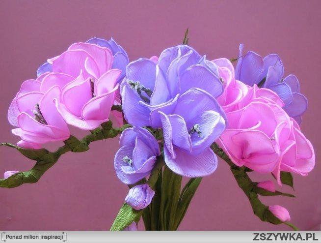 Jak Zrobic Kwiaty Z Krepiny Szukaj W Google Paper Flowers Freesia Flowers Diy Flowers
