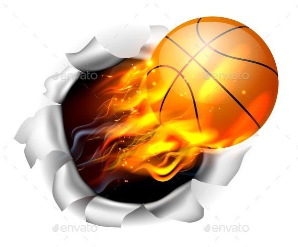 Flaming Basketball Tearing a Hole Sport shirt design