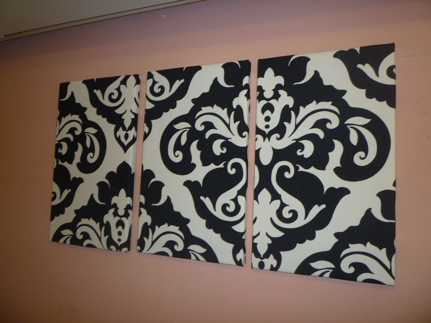 Black White Damask Fabric Wall Art Funky Retro Designer Cotton  Canvas Weight Tryptich Picture Hanging. $70.00, Via Etsy.