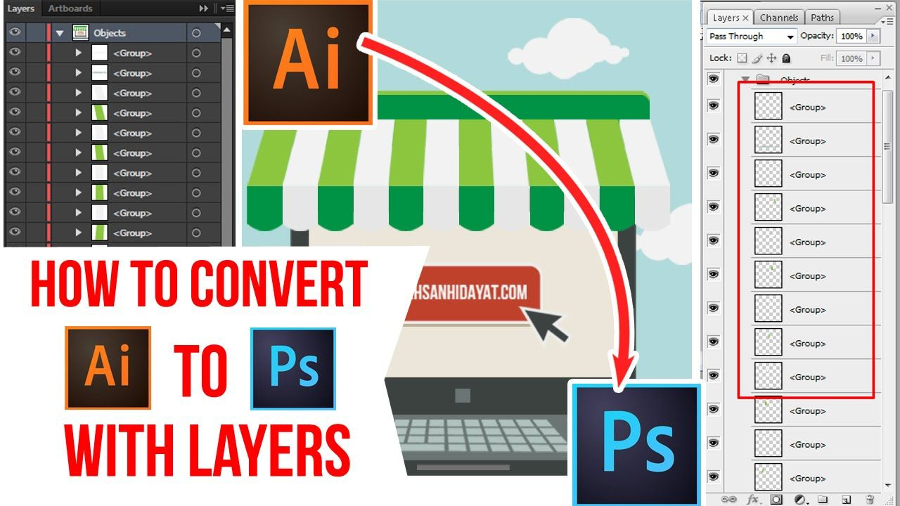 How To Convert File Adobe Illustrator TO PSD with a