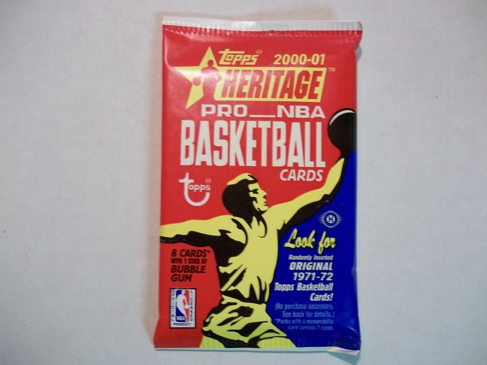 200001 topps heritage basketball cards unopened pack nba