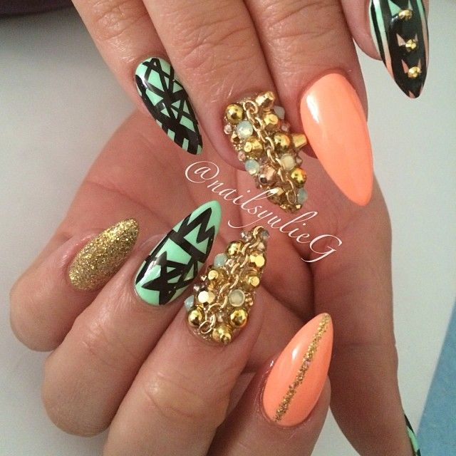 Peach and Mint Gold Junk Almond Stiletto Nail Art @nailsyulieg | GET ...