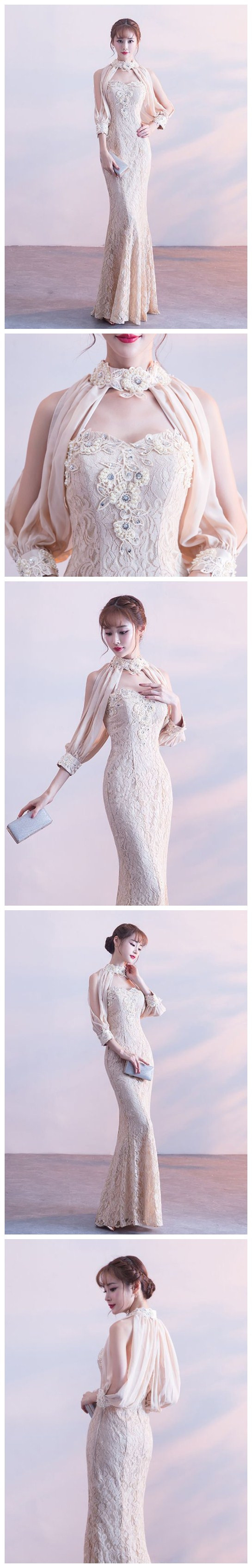 Chic mermaid prom dress high neck long sleeve lace prom dress