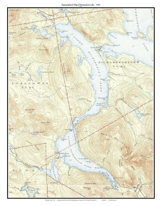 Richardson Lake Old Topographic Map USGS Custom Maine Lakes - Maine lakes map