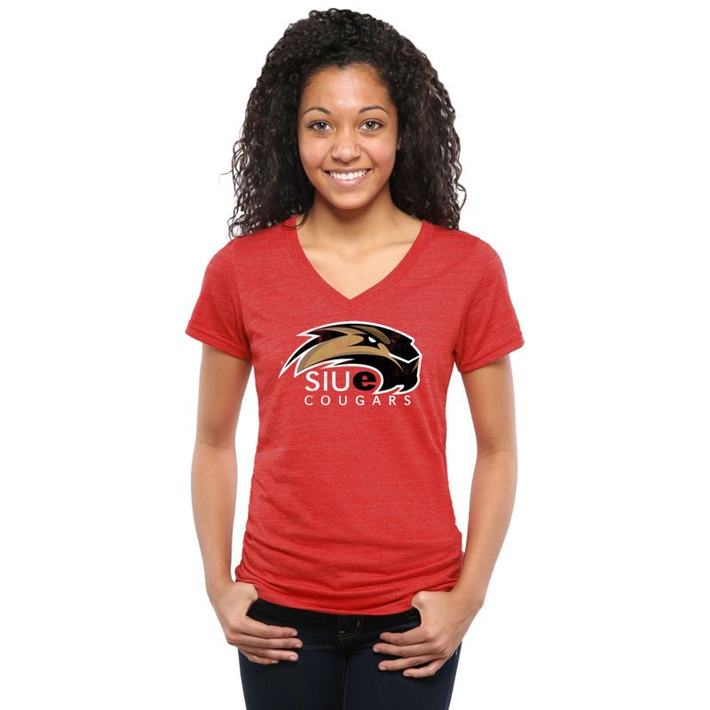 Southern Illinois Edwardsville Cougars Womens Classic Primary Tri-Blend V-Neck T-Shirt - Red