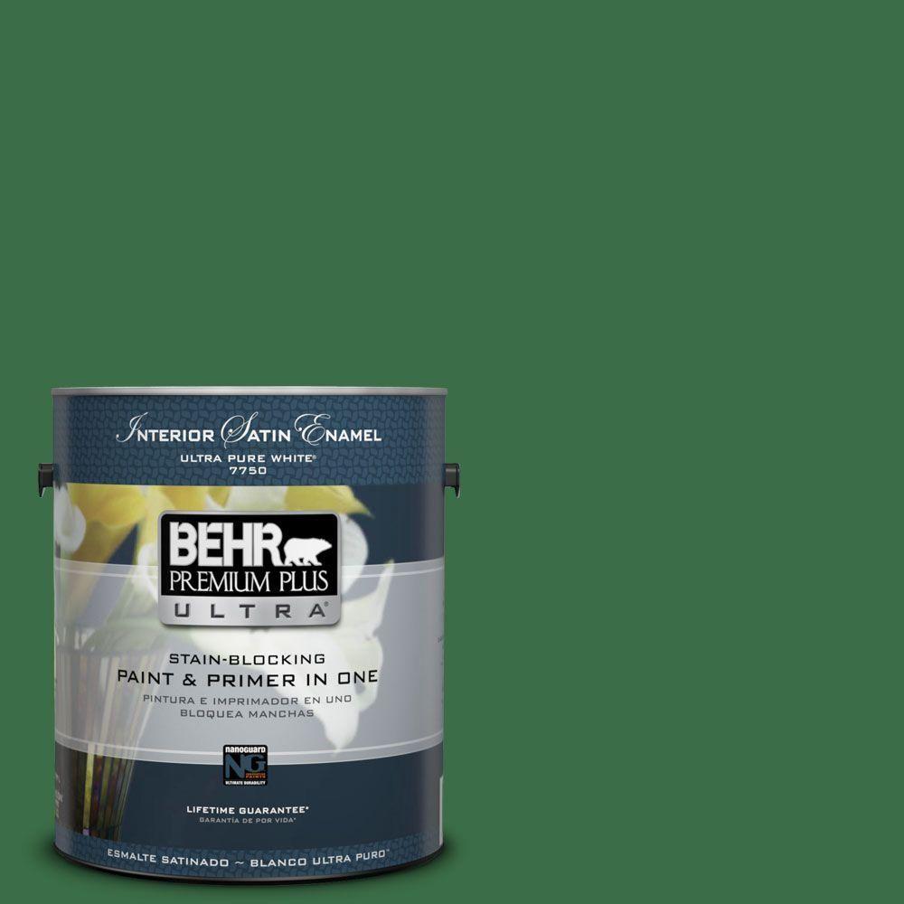 BEHR Premium Plus Ultra 1-gal. #S-H-450 Parsley Sprig Satin Enamel Interior Paint