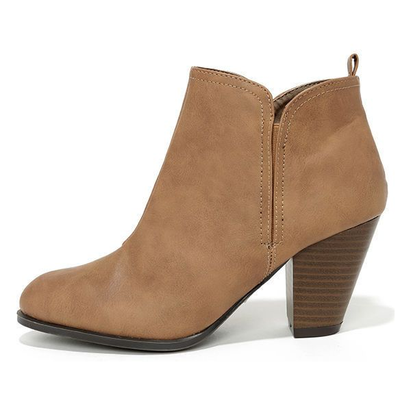 03cd2ed6b Looking Sharp Taupe High Heel Ankle Boots ($36) ❤ liked on Polyvore  featuring shoes, boots, ankle booties, ankle boots, brown, vegan booties,  qupid booties ...