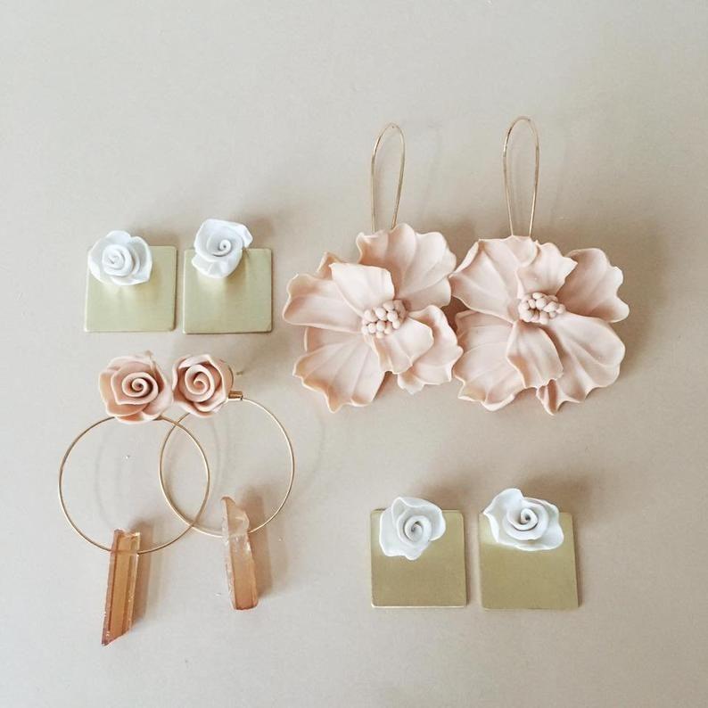 Photo of Flower Quartz Hoop Earrings  Dangle Bridesmaid Proposal gift | Etsy