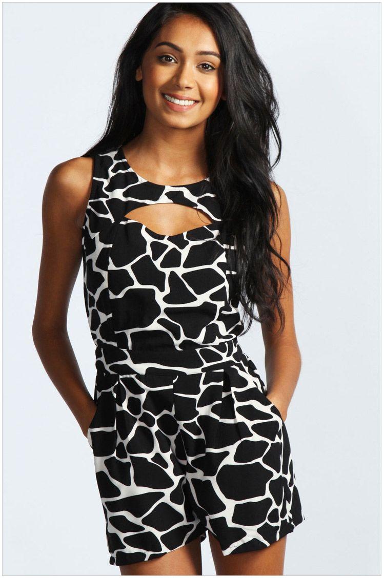 9dd1d692078  25 Black White Cow Pattern Cut Out Jumpsuit 0.00