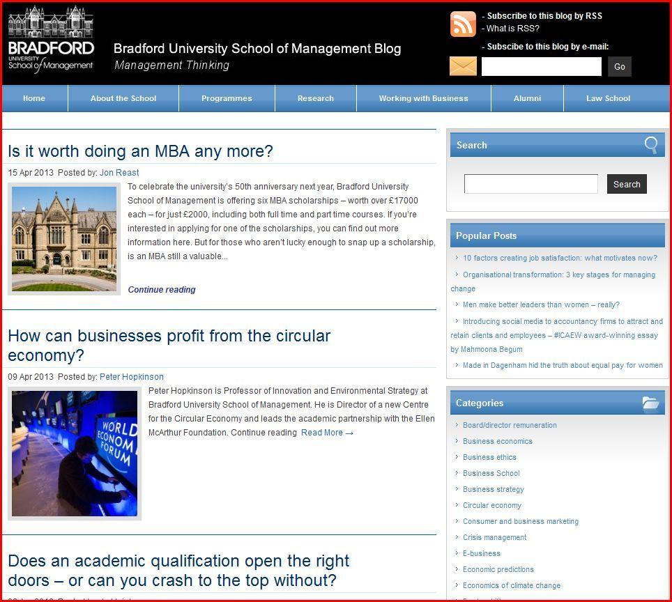 Bradford university school of management blog management