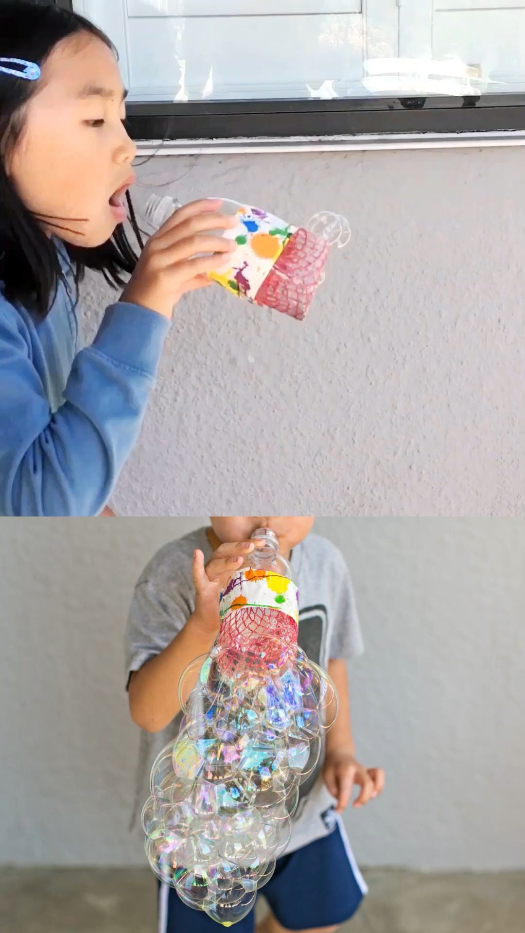Find out how to make this cool recycled bottle bubble blower. Fun way to blow bubbles and a great kids bubble activity! #hellowonderful