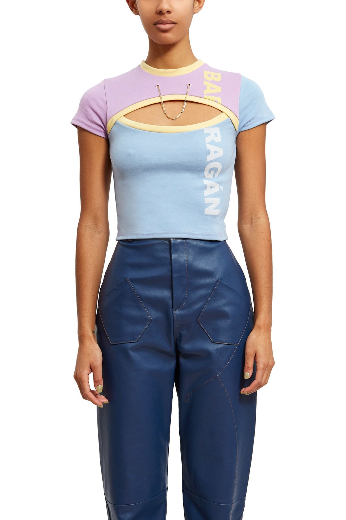 fd5e40433d3 Barragán, Baby Tee This purple and blue Barragán tee has an opening on the  front