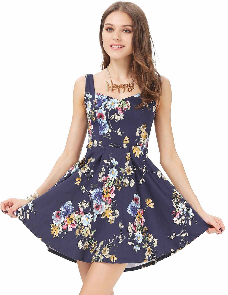 Blue Spaghetti Strap Floral Slim Pleated Dress