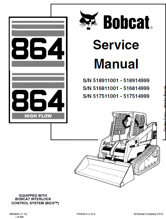 bobcat 864 and 864h skid steer loader schematics, operating and