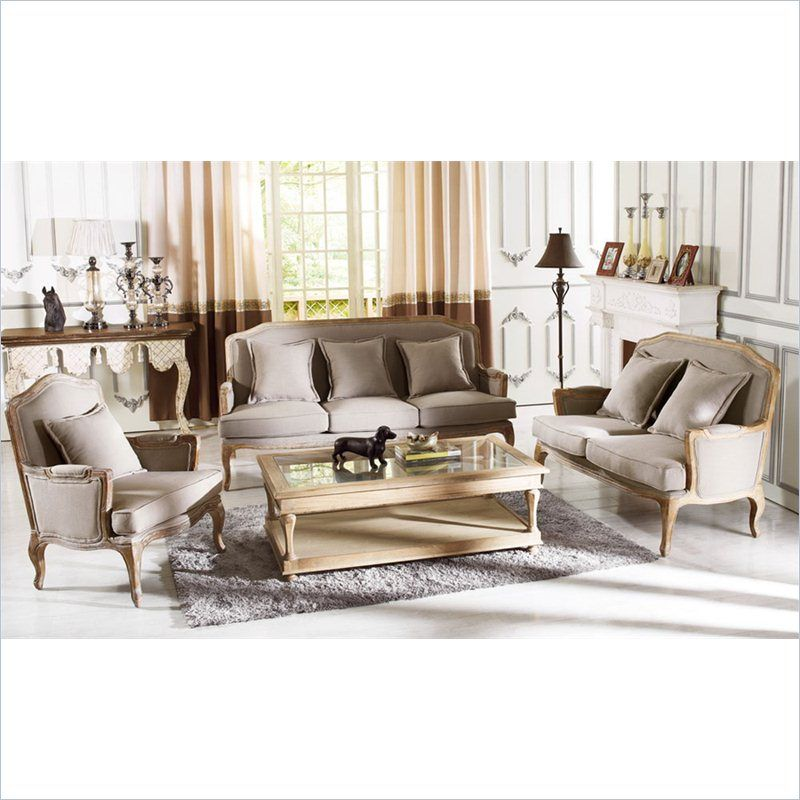 Baxton Studio Constanza Clic Antiqued French Sofa Set In Neutral Gray And Beige By At Furniture Prices From Our Sets