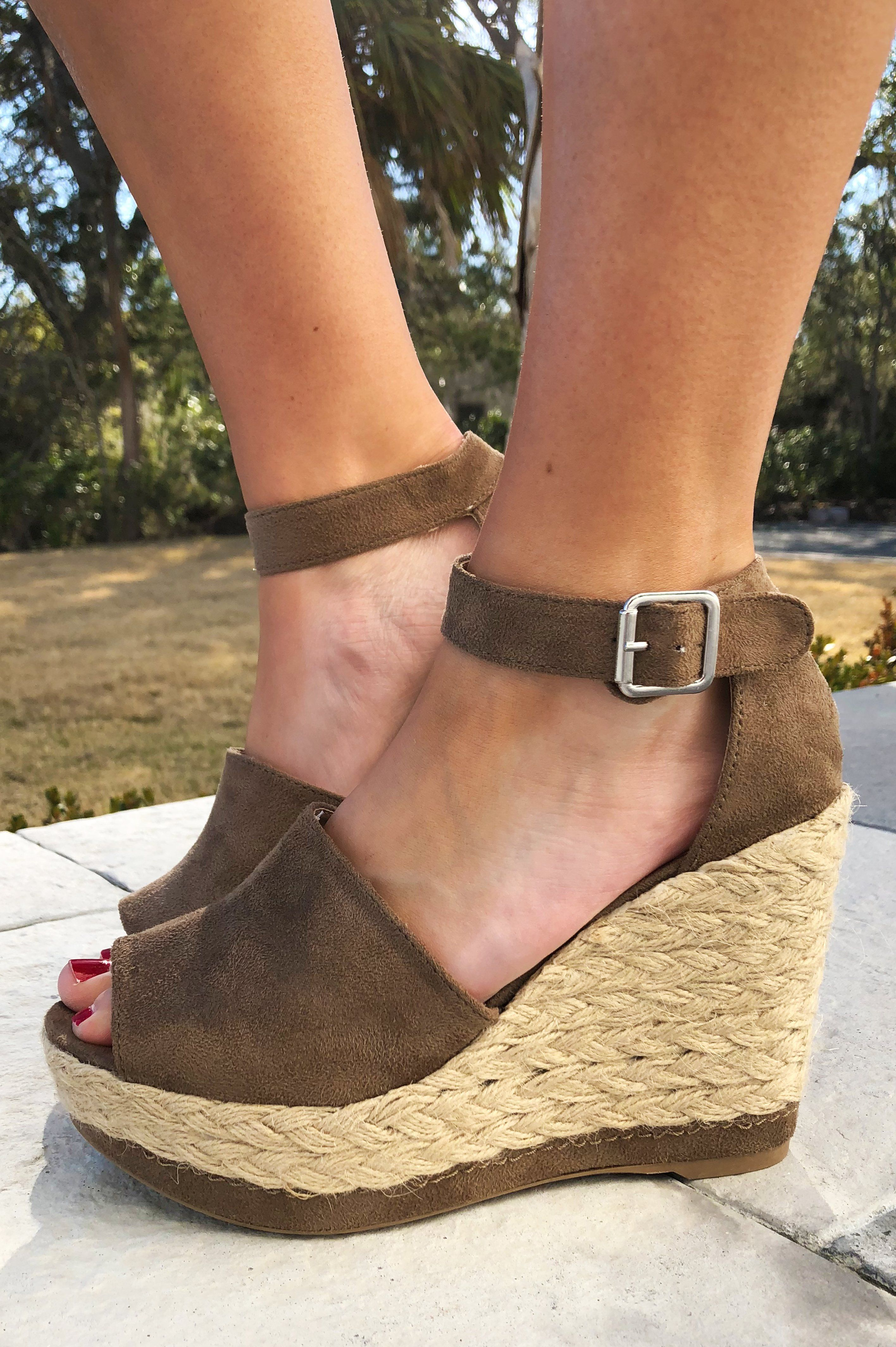 4e056ec9eb3 Share to save 10% on your order instantly! The Chosen One Wedges  Taupe