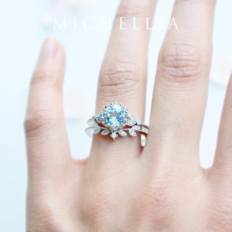 Evanthe Aquamarine Engagement Ring, Vintage Floral Aquamarine Ring, White Gold Aquamarine Leaf Engagement Ring, 14K Gold, 18K Gold, Platinum