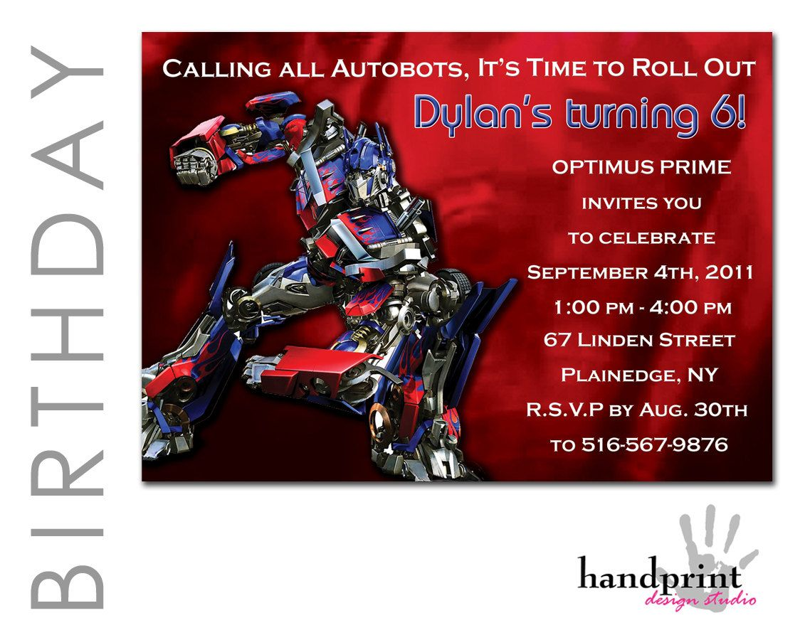 Transformers Invitation - Optimus Prime Birthday Invitation | Norman ...